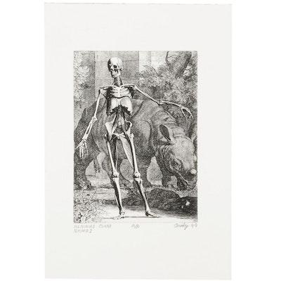 "Andy Hudson Etching After Jan Wandelaar ""Albinus Clara Rhino I,"" 1999"
