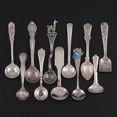 American Sterling Silver Salt Spoons with Peruvian Souvenir Salt Spoon