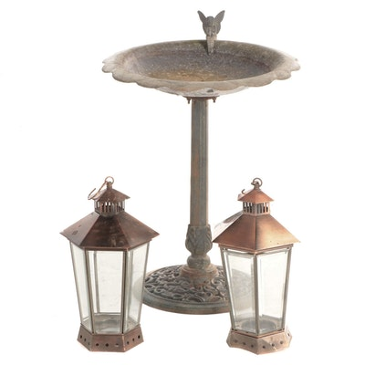 Cast Metal Bird Bath with Metal and Beveled Glass Hanging Candle Lanterns