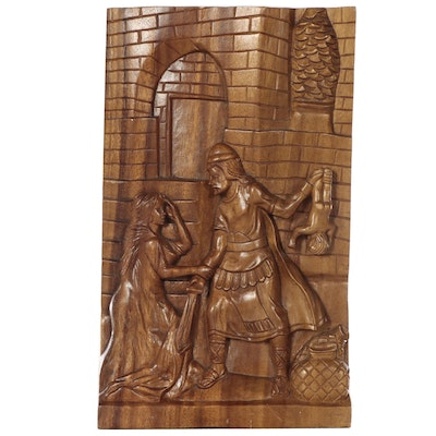 Narrative Wood Relief Carving, Late 20th Century