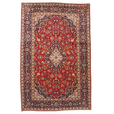 7'1 x 11' Hand-Knotted Persian Kashan Area Rug