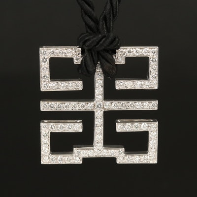 Chinese 18K 2.25 CTW Diamond Prosperity Symbol Pendant Necklace