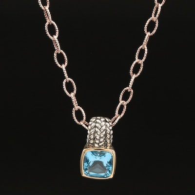 Lorenzo Sterling Swiss Blue Topaz Pendant with 18K Accent on Sterling Chain