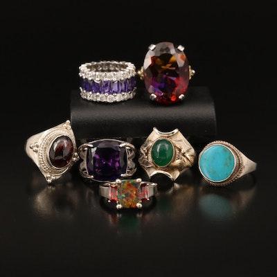 Sterling Rings Including Amethyst, Opal and Rhodolite Garnet