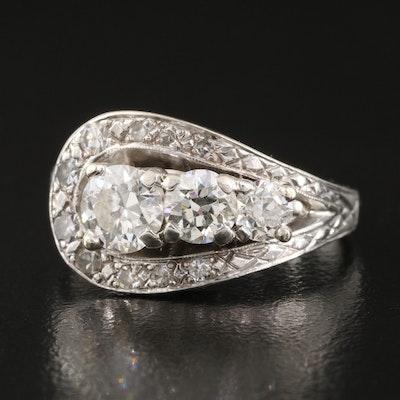 1950s 14K 1.39 CTW Diamond Loop Ring