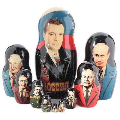 Painted Wood Matryoshka Dolls Featuring Russian Presidents
