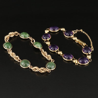 Gold-Filled Amethyst and Nephrite Station Bracelets Featuring Sorrento