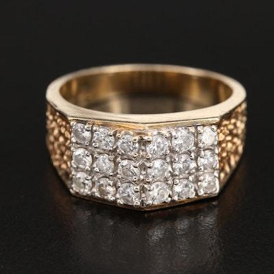 14K 0.90 CTW Diamond Cluster Ring