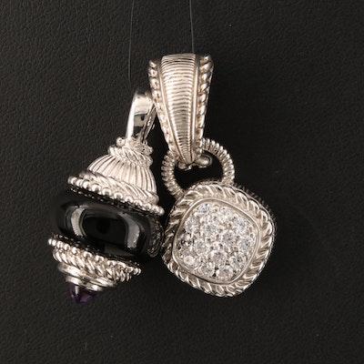 Judith Ripka Sterling Enhancer Pendant and Single Earring with Enhancer
