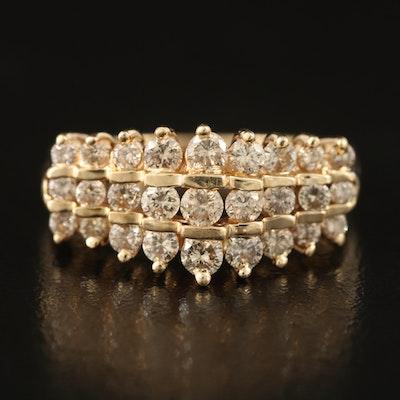 14K Triple Row 1.00 CTW Diamond Ring