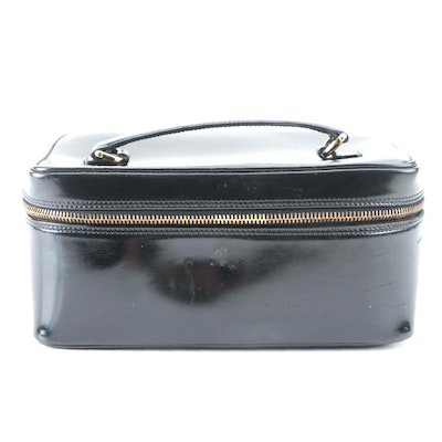 Gucci Toiletry Case in Black Glazed Leather with Bamboo Zipper Pulls