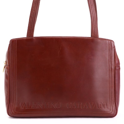 Valentino Shoulder Bag in Leather with Large Embossed Signature Branding