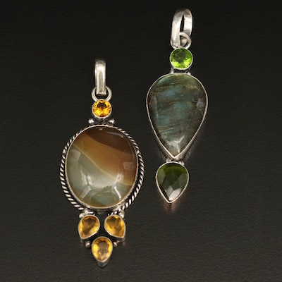Sterling Pendants Including Agate, Labradorite and Glass