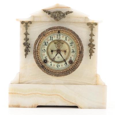 Ansonia Clock Co. New York Neoclassical Style Onyx Mantel Clock, Late 19th C.