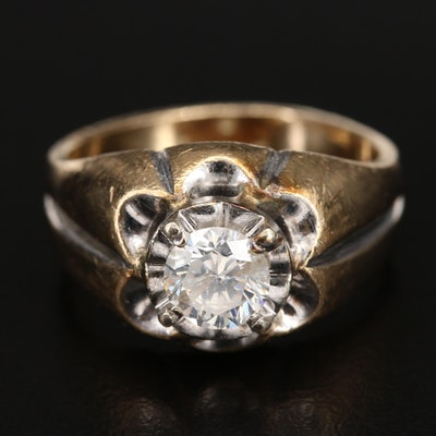 10K Belcher Set 1.13 CT Diamond Ring