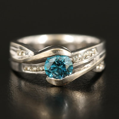 14K 0.93 CTW Diamond Ring with Channel Set Shoulders
