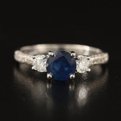 14K 1.20 CT Sapphire and Diamond Trellis Set Ring