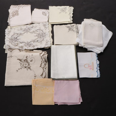 Irish Linen Damask Napkins with Other Table Linens, Mid to Late 20th Century