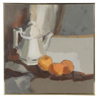 "Edythe W. Cardon Still Life Oil Painting ""Three Oranges,"" 1984"