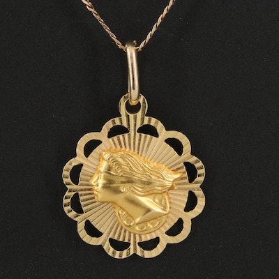 14K Italian Gold Diamond Cut Lady Justice Pendant Necklace