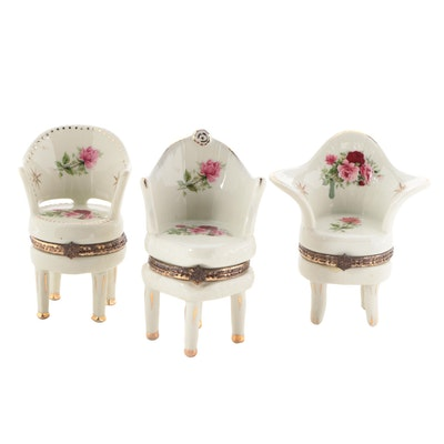 Chinese Gilt Porcelain Chair Trinket Boxes