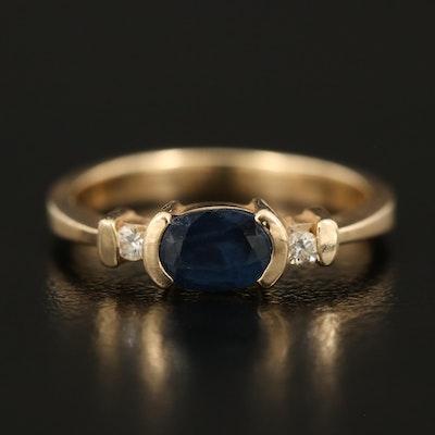 14K Sapphire and Diamond Three Stone Ring