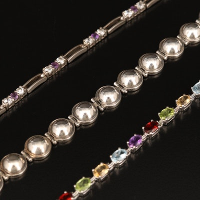 Sterling Bracelets Including Topaz, Amethyst and Cubic Zirconia