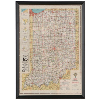 """Oval & Koster Photomechanical Print Map """"1953 State Highway System of Indiana"""""""