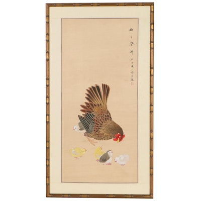 Japanese Gouache Painting of Hen and Chicks