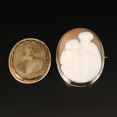Vintage 10K Roman God Bacchus Shell Cameo with Lava Cameo Brooch