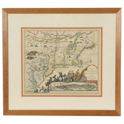 Tobias Conrad Lotter Hand-Colored Engraving Map of New England, Circa 1757