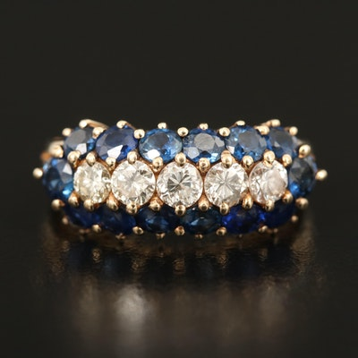 14K Diamond and Sapphire Triple Row Ring
