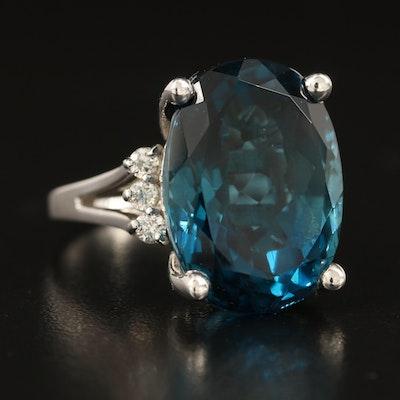 14K 24.65 CT London Blue Topaz and Diamond Statement Ring