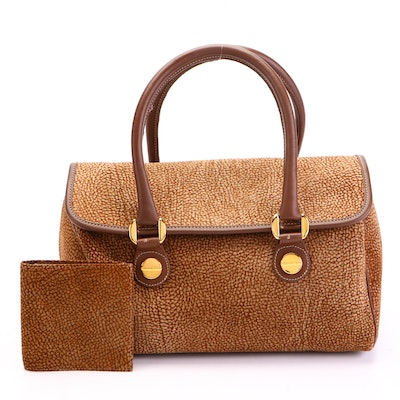 Borbonese by Redwall Flap Front Handbag with Bifold Wallet in Dotted Suede