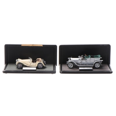 """Franklin Mint Jaguar """"SS-100"""" and Rolls-Royce """"Silver Ghost"""" Diecast Vehicles"""