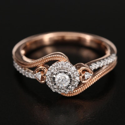 10K 0.25 CTW Diamond Ring with Heart Details