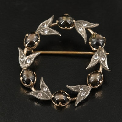 Vintage 10K Black Star Sapphire and Spinel Circle Brooch with Sterling Accents