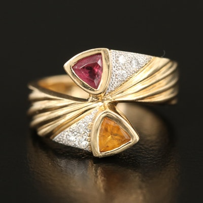 14K Garnet, Citrine and Diamond Bypass Ring