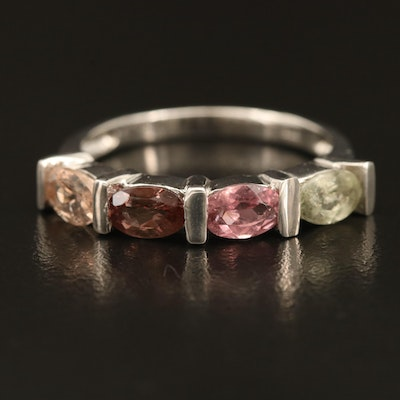 Sterling Ring Including Morganite, Tourmaline and Color Changing Garnet