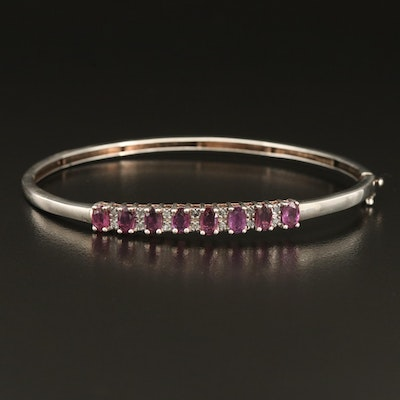 Sterling Ruby and Diamond Hinged Bangle