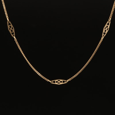 14K Openwork Station Curb Chain Necklace