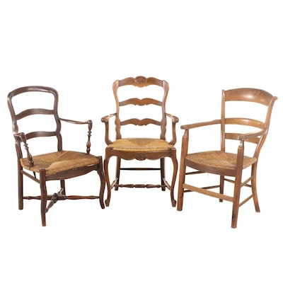 Three French Provincial Armchairs, 19th/20th Century