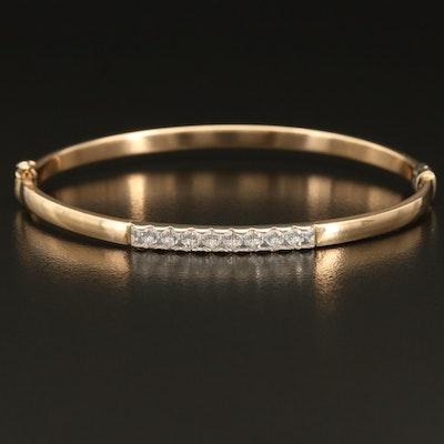 14K Italian Gold Cubic Zirconia Hinged Bangle