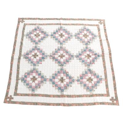 "Handmade ""Eight Pointed Star"" Pieced Cotton Quilt"