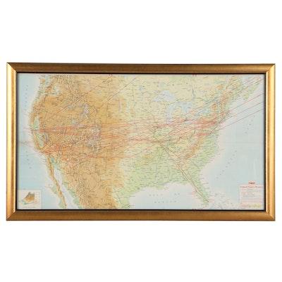 "Photomechanical Print Map ""TWA United States Routes,"" 1967"