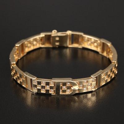 14K Cubic Zirconia Checkerboard Buckle Bracelet