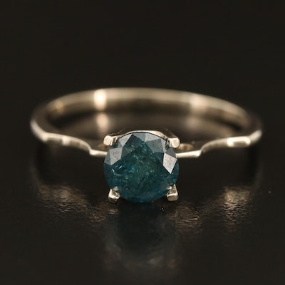 14K 0.92 CT Blue Diamond Solitaire Ring