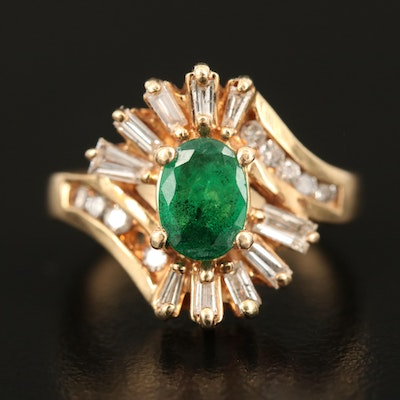 14K Emerald and Diamond Oval Ring
