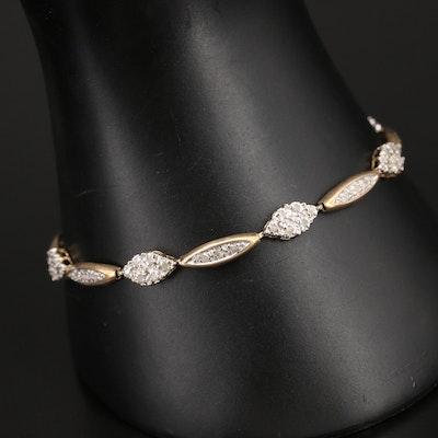 10K Diamond Fancy Link Bracelet