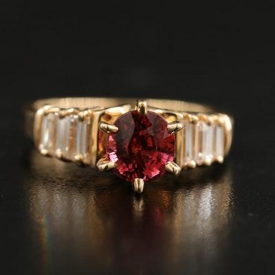 18K Pink Tourmaline and Diamond Ring